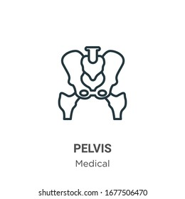 Pelvis outline vector icon. Thin line black pelvis icon, flat vector simple element illustration from editable medical concept isolated stroke on white background