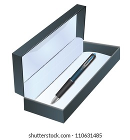 Pen in a box on the white background
