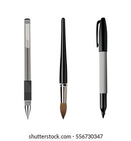 pen, brush, marker isolated on white background