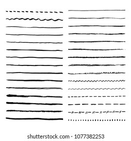 Pen brush and pencil vector strokes. Template for brush. Wave, straight, dotted, zigzag lines