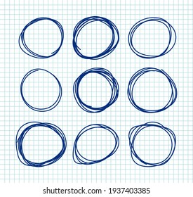 Pen drawing circles vector set on note page