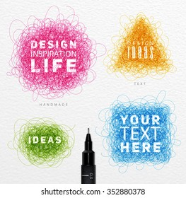 Pen drawing tangle elements circle, square, oval, triangle with inscriptions drawing with color ink on paper background