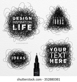 Pen drawing tangle elements circle, square, oval, triangle with inscriptions drawing on paper background