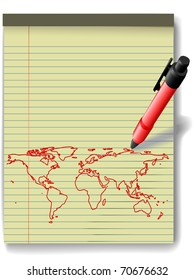 Pen drawing a world map in red ink on a yellow legal paper pad