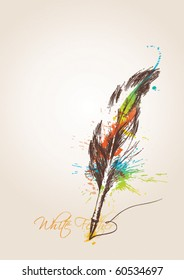 Pen in the form of the bird's feather on the beige background. Vector illustration.