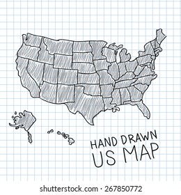 Pen hand drawn USA map vector on paper illustration.