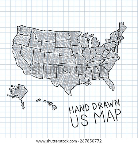 Hand Drawn Us Map.Pen Hand Drawn Usa Map Vector Stock Vector Royalty Free 267850772