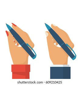 Pen in hand women and man. People holding pencil for writing, drawing. Writer, journalist, student. Set flat design style. Vector illustration. Isolated template on white background.