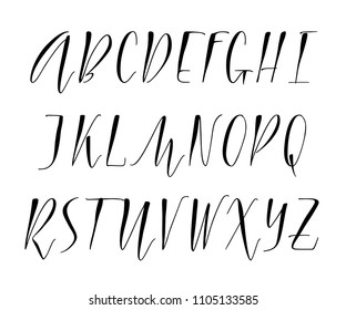Pen handwritten vector alphabet. Modern calligraphy, uppercase letters. Vector illustration