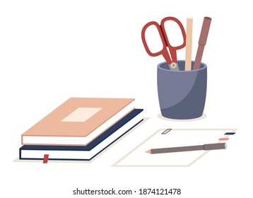 Pen holder, books, paper office equipment. Scissors, pencils in vertical plastic box. Office and home supply stationery and education. Vector illustration flat style isolated on white background