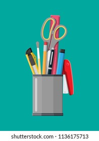 Pen holder office equipment. Ruler, knife, pencil, pen, scissors. Office supply stationery and education. Vector illustration flat style