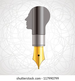 pen with human head