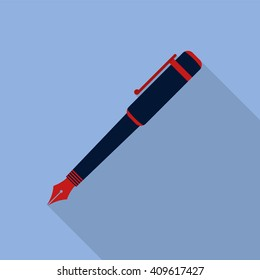 Pen icon. Flat design style modern vector illustration. Isolated on stylish color background. Flat long shadow icon. Elements in flat design.