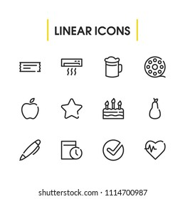 Pen icon with fruit, date and check symbols. Set of fruit, birthday dessert, nib icons and filmstrip concept. Editable vector elements for logo app UI design.