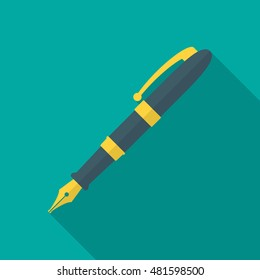 Pen icon with long shadow. Flat design style. Fountain pen simple silhouette. Modern minimalistic icon in stylish colors. Web site page and mobile app design vector element.