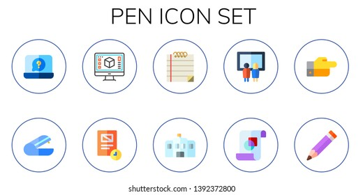 pen icon set. 10 flat pen icons.  Simple modern icons about  - notebook, stapler, graphic design, document, note, school, painting, decree, pencil