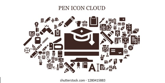 pen icon set. 93 filled pen icons. Simple modern icons about  - Education, Pencil, Pen, Artboard, Clipboard, Notebook, Typography, Canvas, Ruler, Gnosticism, Design, Artist, Papyrus