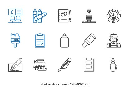 pen icons set. Collection of pen with fountain pen, clipboard, quill, brush, edit, artist, crayon, glue, graphic design, bank, guests book, crayons. Editable and scalable icons.