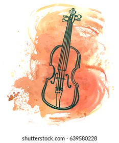 A pen and ink drawing of a vintage violin with a grunge watercolor stain