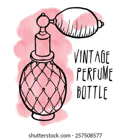 Pen and ink drawn vintage perfume bottle