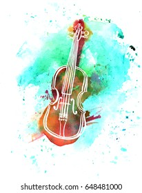 A pen and ink grunge drawing of a violin with a teal watercolor brush stroke texture