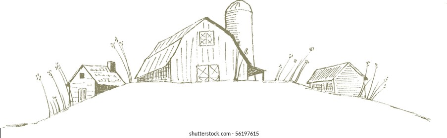Pen and ink style illustration of an old barn/farm scene.