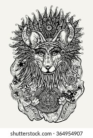 Pen and ink vector print illustration of Indian fox holding Mayan calendar