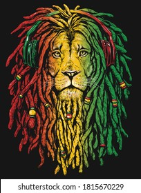 Pen and inked Rastafarian Lion digital illustration on black background.