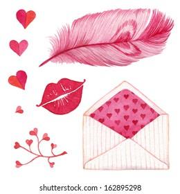 Pen, kiss, heart, envelope. Cute romantic set of design elements for Valentine's Day.