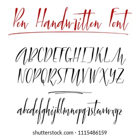 Pen lettering vector alphabet. Uppercase and lowercase handwritten letters. Modern calligraphy, vector illustration.