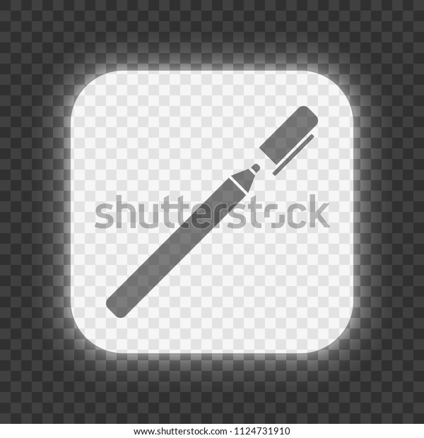 Pen Marker Icon Glowing Square Button Stock Vector Royalty