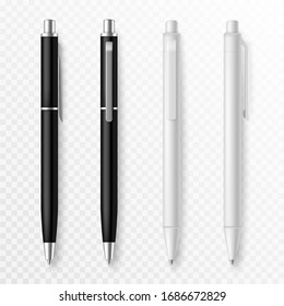 Pen mockup. Realistic pens close up template with shadow, presentation stationery supplies pens for corporate identity, office company vector set