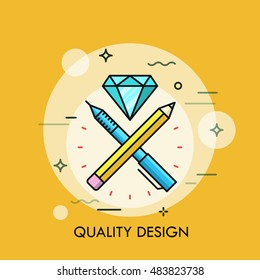 Pen, pencil and dimond flat design thin line banner. Modern style logo vector illustration concept.