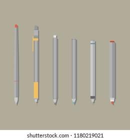 Pen, pencil, marker, versatile, ballpoint pen, isograph set. Stationery set. Vector isolated illustration.