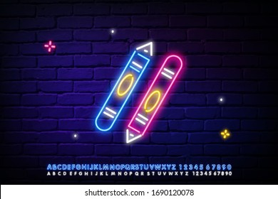 Pen and pencil with neon sign. Office supplies, school, education design. Night bright neon sign, colorful Billboard, light banner. Vector illustration in neon style.