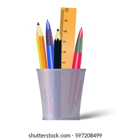 Pen and pencils container. Holder with pencils, ruler and pens. Office tools isolated on white background
