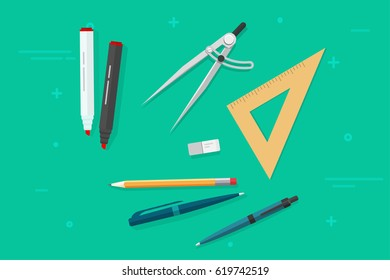 Pen, pencils, eraser, triangle rulers, marker, biro pen, compass divider, flat style top view vector illustration, stationery objects isolated