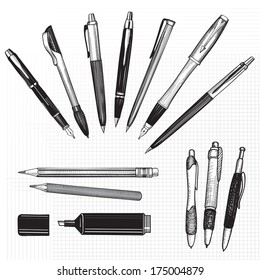 Pen set. Hand drawn vector doodle illustration. Pencils, pens and marker collection isolated on white