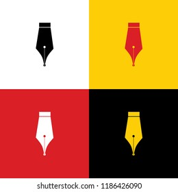 Pen sign illustration. Vector. Icons of german flag on corresponding colors as background.