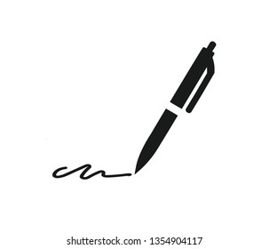 Pen and signature icon vector
