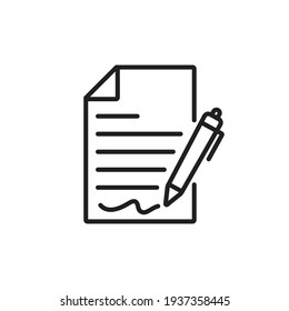 Pen signing a contract icon with signature, paper symbol isolated  on white background for graphic and web design.