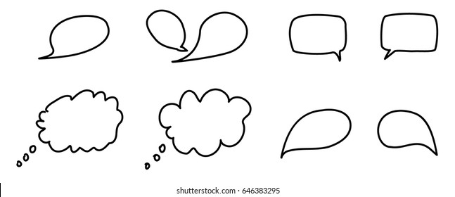 Pen sketch of different thought and speech bubbles.
