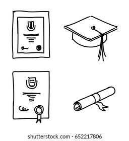 Pen sketch of education of education related objects - qualification certificates, mortaboard and scroll.