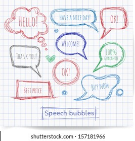 Pen sketch speech and thought bubbles. Vector illustration.
