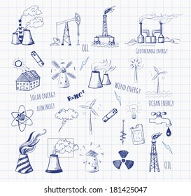 Pen sketches of oil rigs, oil platforms, thermal energy station and other sources of energy. Vector sketch illustration.