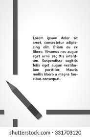 pen symbol dark infographics on gray gradient background