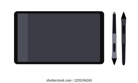 Pen tablet, vector illustration. Electronic office design device.