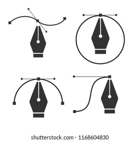 Pen tool cursor. Vector computer graphics. Logo for designer or illustrator. Design icon. The curve control points.