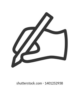 Pen typewriter linear icon. Hand gesture symbol. Thin line Editable Stroke. 48x48 Pixel Perfect.