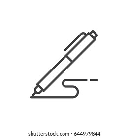 Pen, write line icon, outline vector sign, linear style pictogram isolated on white. Symbol, logo illustration. Editable stroke. Pixel perfect